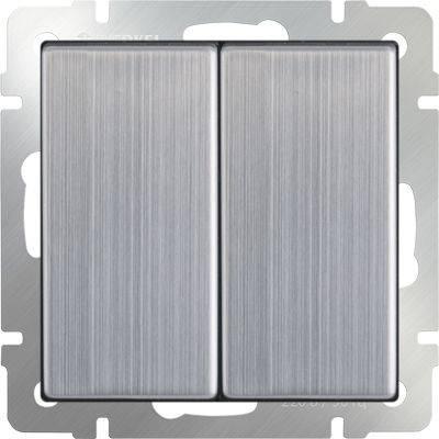 Выключатель двухклавишный глянцевый никель WL02-SW-2G 4690389045752 werkel выключатель двухклавишный с подсветкой wl08 sw 2g led