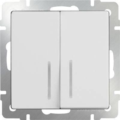Выключатель двухклавишный проходной с подсветкой белый WL01-SW-2G-2W-LED 4690389059186 бра colosseo susanna 80311 2w