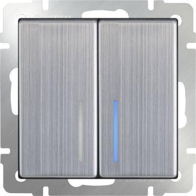 Выключатель двухклавишный проходной с подсветкой глянцевый никель WL02-SW-2G-2W-LED 4690389059223 корм для собак роял канин гипоаллергеник смол дог сух пак 1 кг
