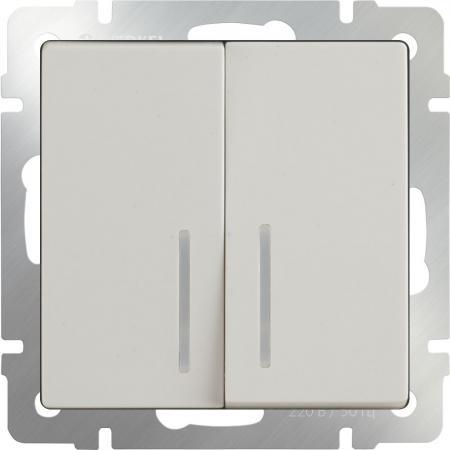 Выключатель двухклавишный проходной с подсветкой слоновая костьWL03-SW-2G-2W-LED-ivory 4690389059278 бра colosseo susanna 80311 2w