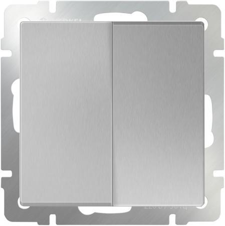 Выключатель двухклавишный проходной серебряный WL06-SW-2G-2W 4690389053849