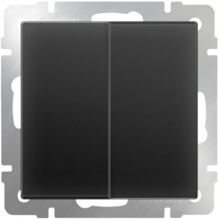 Выключатель двухклавишный проходной черный матовый WL08-SW-2G-2W 4690389054167 выключатель двухклавишный черный матовый wl08 sw 2g 4690389054150