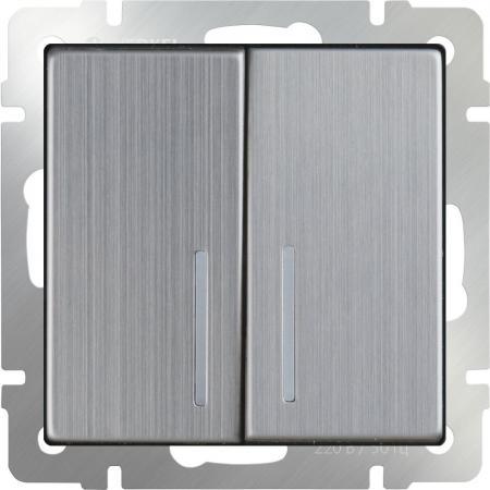 Выключатель двухклавишный с подсветкой глянцевый никель WL02-SW-2G-LED 4690389059230