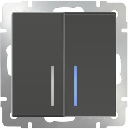 Выключатель двухклавишный с подсветкой серо-коричневый WL07-SW-2G-LED 4690389054037 werkel выключатель двухклавишный с подсветкой wl08 sw 2g led
