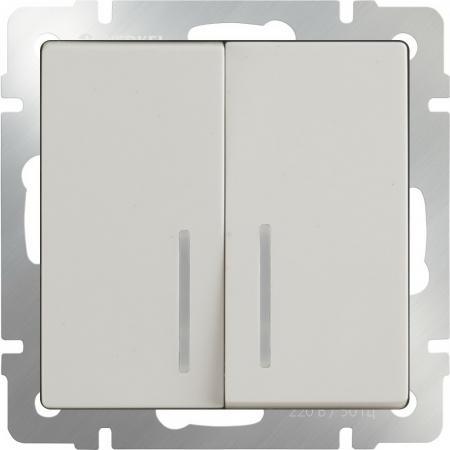 Выключатель двухклавишный с подсветкой слоновая кость WL03-SW-2G-LED-ivory 4690389059285 выключатель двухклавишный слоновая кость wl03 sw 2g ivory 4690389046162