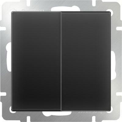 Выключатель двухклавишный черный матовый WL08-SW-2G 4690389054150 выключатель двухклавишный с подсветкой черный матовый wl08 sw 2g led 4690389054198