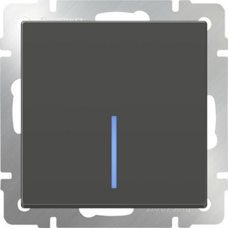 Выключатель одноклавишный проходной с подсветкой серо-коричневый WL07-SW-1G-2W-LED 4690389054020