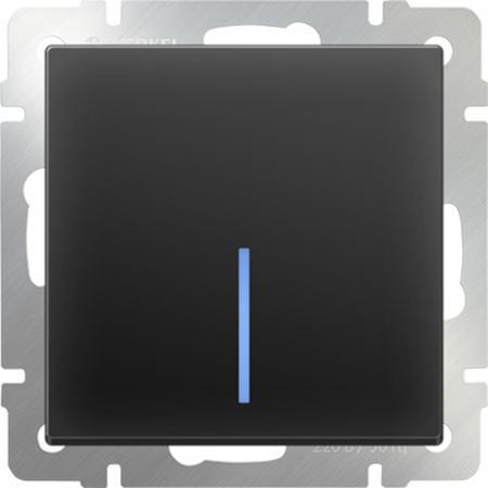 Выключатель одноклавишный проходной с подсветкой черный матовый WL08-SW-1G-2W-LED 4690389054181 werkel выключатель одноклавишный черный матовый wl08 sw 1g 4690389054136