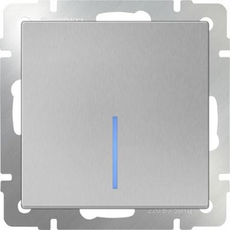 Выключатель одноклавишный с подсветкой серебряный WL06-SW-1G-LED 4690389053856 werkel выключатель двухклавишный с подсветкой wl08 sw 2g led