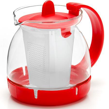 Чайник заварочный Mayer&Boch 26175-1-MB красный 0.8 л металл/стекло заварочный чайник 1 5 л mayer and boch клубника mb 23981