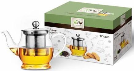 Чайник заварочный Teco 206-TC прозрачный 0.45 л стекло чайник заварочный 850мл teco tc 208