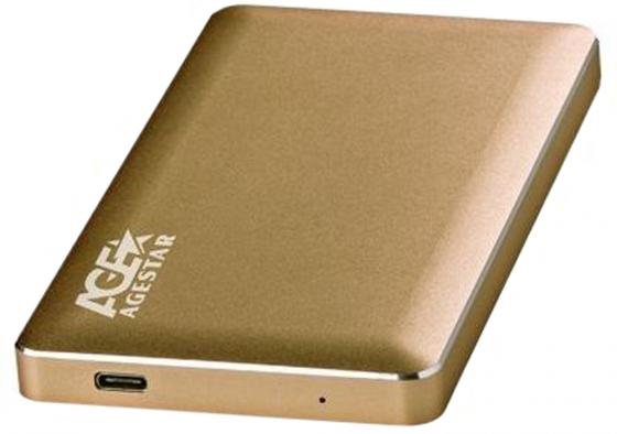 "Внешний контейнер для HDD 2.5"" SATA AgeStar 31UB2A16C USB3.1 алюминий золотистый цена и фото"