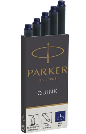 Картридж Parker Quink Ink Z11 для перьевых ручек чернила синие 5шт 1950384 флакон с чернилами parker quink ink z13 синие чернила 57мл для ручек перьевых 1950376