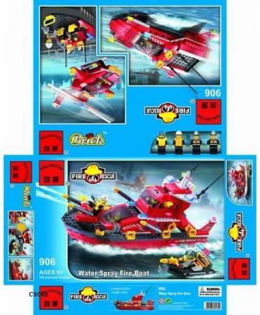 Конструктор BRICK Катер пожарный 339 элементов 906 конструктор brick вертолет 275 элементов 818