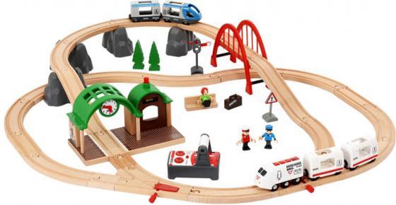 Подарочный набор Brio Городская поездкас поездом на пульте ДУ,механич.станцией и аксесс-ры железные дороги brio ж д переезд 26 элементов