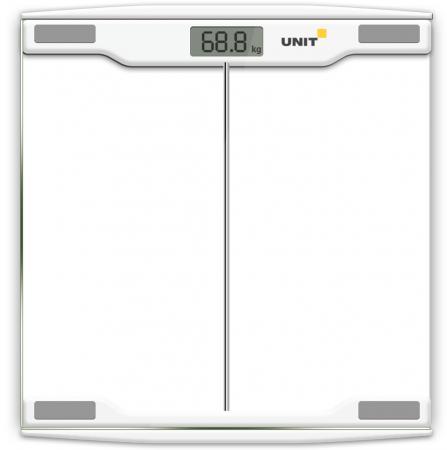 Весы напольные электронные UNIT UBS-2054, стекло, прозрачные, 150кг. 100гр. (Цвет: Светло-Серый) unit ubs 2053 light gray весы напольные электронные