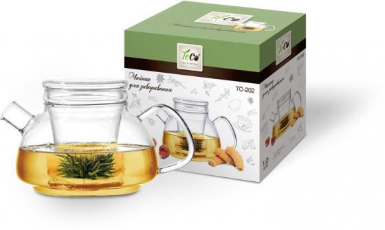 Чайник заварочный Teco TC-202 прозрачный 1 л стекло чайник заварочный lilac 5520010 1 прозрачный черный 1 5 л