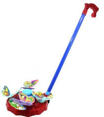 Каталка на палочке Shantou Gepai Карусель бабочки пластик от 3 лет с ручкой разноцветный развивающая каталка ходунки shantou gepai бегемотик
