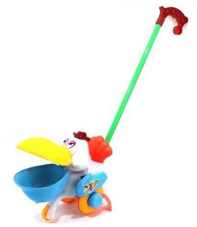 Каталка на палочке Shantou Gepai Пеликан пластик от 1 года с ручкой разноцветный 42015 каталка shantou gepai морской конек zya a0347