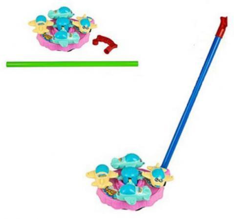 Каталка на палочке Shantou Gepai Карусель самолетики пластик от 3 лет с ручкой цвет в ассортименте Y1142087 каталка на палочке shantou gepai карусель бабочки пластик от 3 лет с ручкой разноцветный