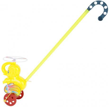 Каталка на палочке Shantou Gepai Слоненок пластик от 2 лет на колесах разноцветный каталка на палочке shantou gepai карусель петушки от 3 лет разноцветный пластик с ручкой