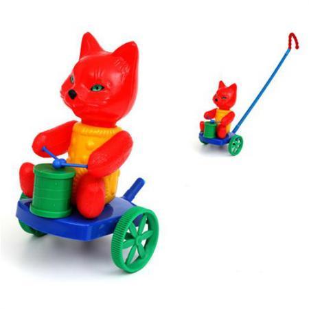 Каталка на палочке Suchanek Кот с барабаном пластик от 1 года на колесах цвет в ассортименте SHNK-02 каталка s s toys слон с барабаном 0356 в пакете