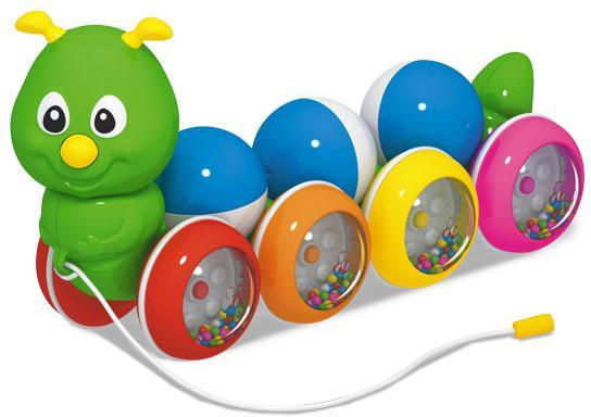 Каталка на шнурке Стеллар Гусеница с шариками пластик от 1 года на колесах разноцветный 01391 стеллар каталка гусеница с шариками стеллар м