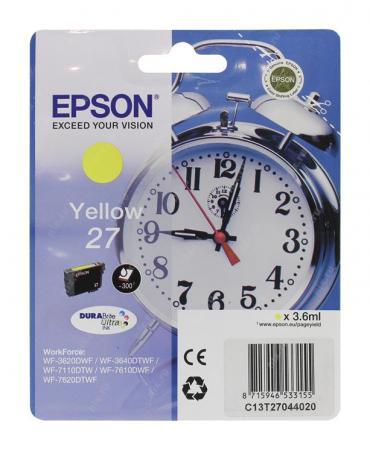 Фото - Картридж Epson C13T27044020/22 для Epson WF7110/7610/7620 желтый 350стр картридж epson c13t27024020 для epson wf7110 7610 7620 голубой 350стр