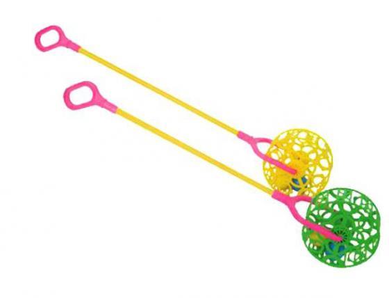 Каталка на палочке Совтехстром У743 пластик от 1 года съёмная ручка разноцветный