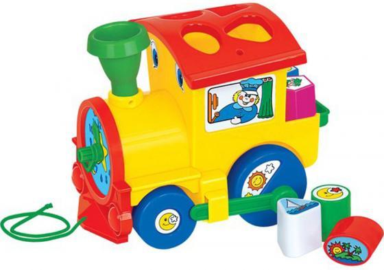 """Каталка на шнурке Полесье """"Занимательный паровоз"""" пластик от 1 года на колесах разноцветный сетка 6189 недорого"""