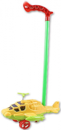 Каталка на палочке S+S Toys Вертолет пластик от 1 года на колесах желтый
