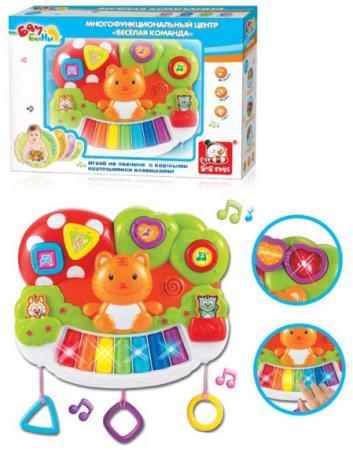 Пианино S+S TOYS Многофункциональный центр Bambini Веселая команда - Котик игрушка s s toys bambini 2 в 1 развивающий телефон и пианино сс76752