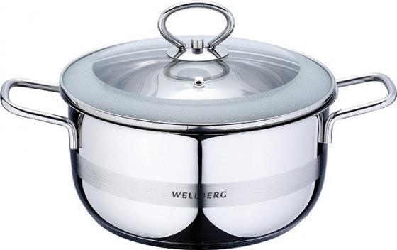 Кастрюля Wellberg WB-8042 18 см 2.2 л нержавеющая сталь кастрюля wellberg wb 9820 alexander 18 см 3 л нержавеющая сталь