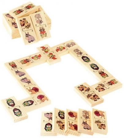 Настольная игра домино Русские деревянные игрушки Животные-2 русские деревянные игрушки