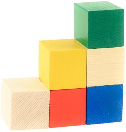 Кубики Русские деревянные игрушки цветные 6 шт Д154б русские деревянные игрушки
