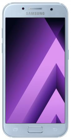 Смартфон Samsung Galaxy A3 Duos 2017 голубой 4.7 16 Гб LTE Wi-Fi GPS 3G NFC SM-A320FZBDSER смартфон nokia 3 dual sim черный 5 16 гб lte wi fi gps nfc 11ne1b01a09