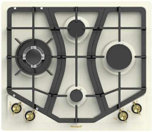 Варочная панель газовая Weissgauff HGRG 641 OWR бежевый встраиваемая варочная газовая панель weissgauff hgg 641 x