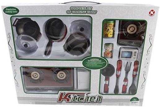 Набор посуды Shantou Gepai с плитой и аксессуарами со звуком и светом 5810D набор бытовой техники shantou gepai пылесос и стиральная машина со звуком и светом y3778209