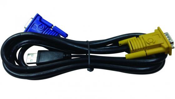 Кабель D-Link DKVM-IPVUCB/10 2 in 1 USB 1.8m 10шт кабель d link dkvm cu5 b1a кабель kvm длиной 5 м с разъемами vga и usb