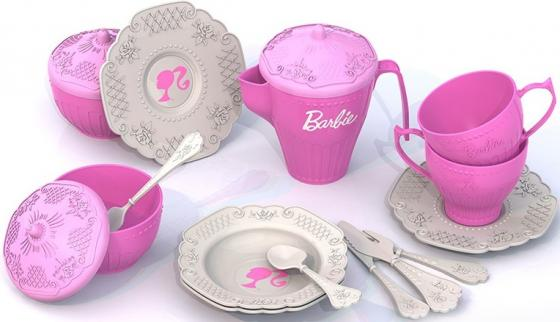 Чайный набор Нордпласт Барби, 18 предметов  636 нордпласт набор кухонной посудки 15 предм барби нордпласт