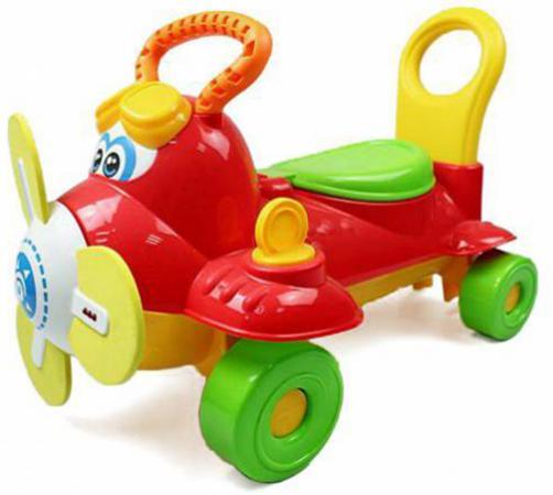 Каталка Shantou Gepai Самолетик пластик от 3 лет на колесах красный со звуком Y360963 каталка на палочке shantou gepai бабочка 941720 пластик от 1 года на колесах разноцветный 1200