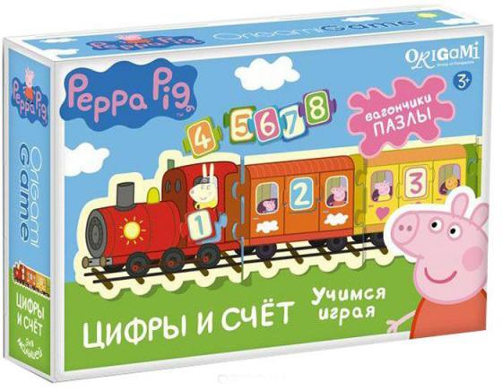 Настольная игра развивающая ОРИГАМИ Peppa Pig Паровозик Цифры и Счет origami peppa pig настольная игра прятки
