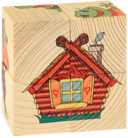 Кубики Русские деревянные игрушки Теремок 4 шт 505 развивающие игрушки стеллар пирамида теремок