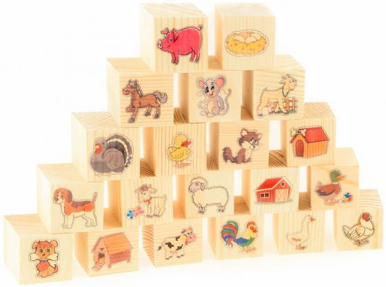 Кубики Русские деревянные игрушки На ферме 20 шт Д155d детские образовательные деревянные традиционные mikado spiel pick up sticks с коробкой игры