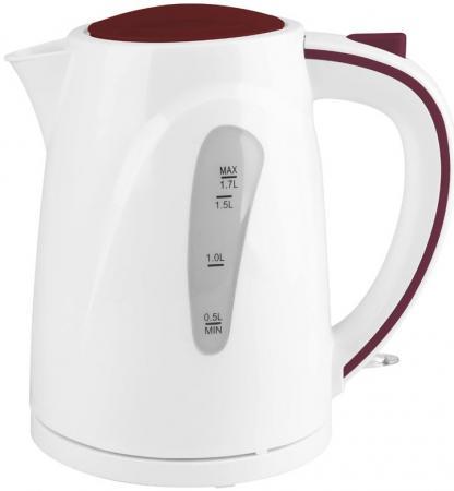 Чайник Supra KES-1721N 2200 Вт белый бордовый 1.7 л пластик чайник supra kes 1708 2200 вт фисташковый белый 1 7 л пластик