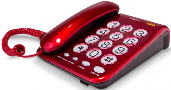 Телефон проводной Texet TX-262 красный texet tx d6955а