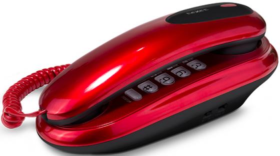 Телефон проводной Texet TX-236 красный телефон проводной texet tx 201