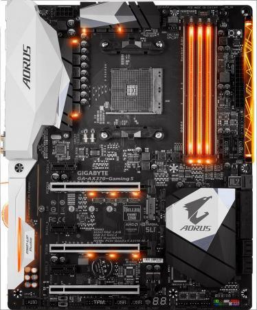 Материнская плата GigaByte GA-AX370-GAMING 5 Socket AM4 AMD X370 4xDDR4 3xPCI-E 16x 3xPCI-E 1x 8xSATAIII ATX Retail материнская плата gigabyte ga ax370 gaming k7