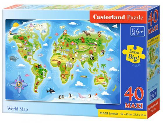 Пазл 40 элементов Кастор Карта мира В-040117 пазл 55 элементов кастор времена года