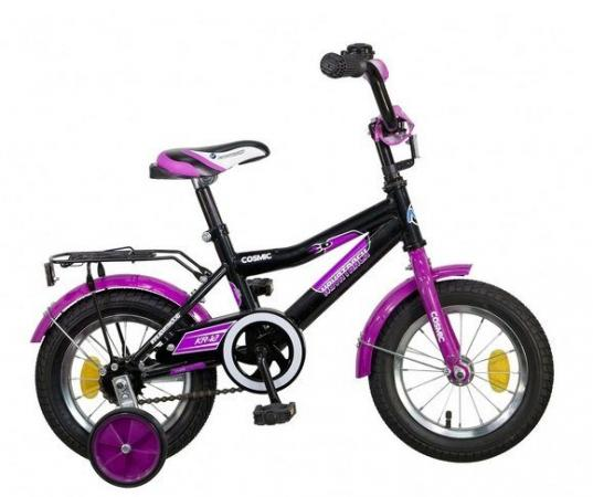 """Велосипед двухколёсный Novatrack Cosmic 12"""" черно-фиолетовый"""